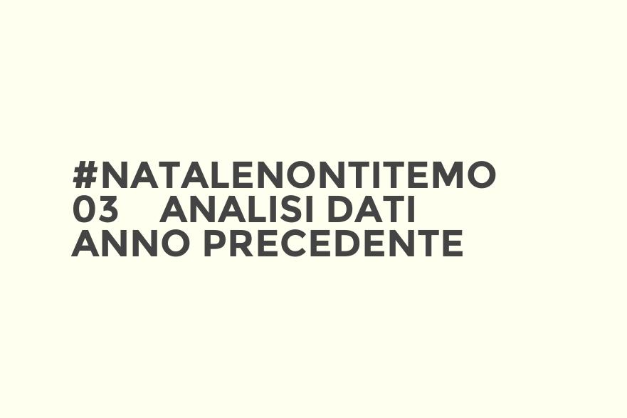 #NataleNonTiTemo 03 – Analisi dati anno precedente